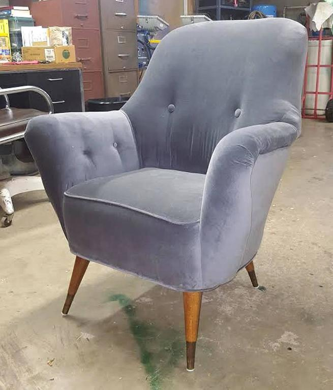 Pair of Italian Salon Armchairs in Grey Velvet, circa 1950 2