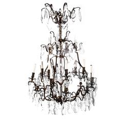 Vintage Monumental Bronze and Cut Crystal 16-Arm Chandelier