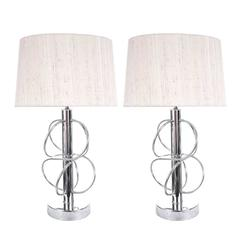 Pair of 1970s Chrome Circles Table Lamps