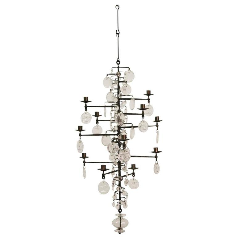 Chandelier Designed by Erik Hoglund For Sale