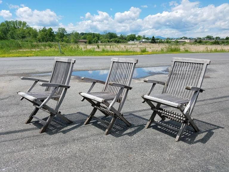 Great Set Of Three Teak Folding Chairs With An Amazing Grey Weathered  Patina. Great For