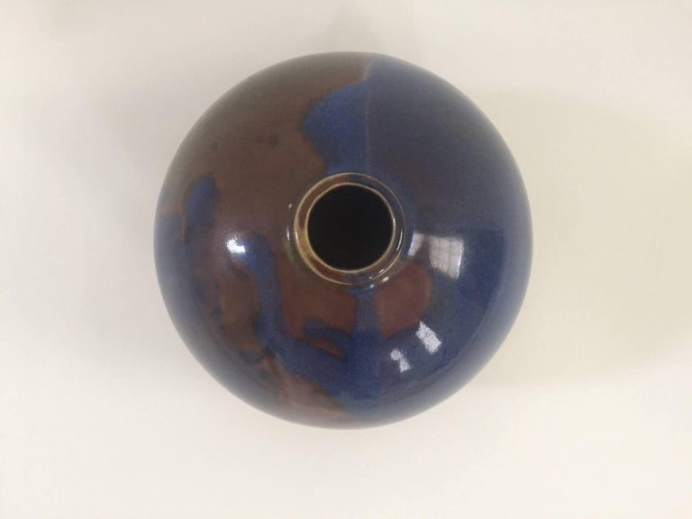 Hand-Painted 1970s Blue and Brown Ceramic Vase by Diane Love For Sale