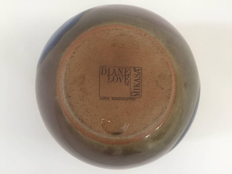 1970s Blue and Brown Ceramic Vase by Diane Love In Excellent Condition For Sale In New York, NY