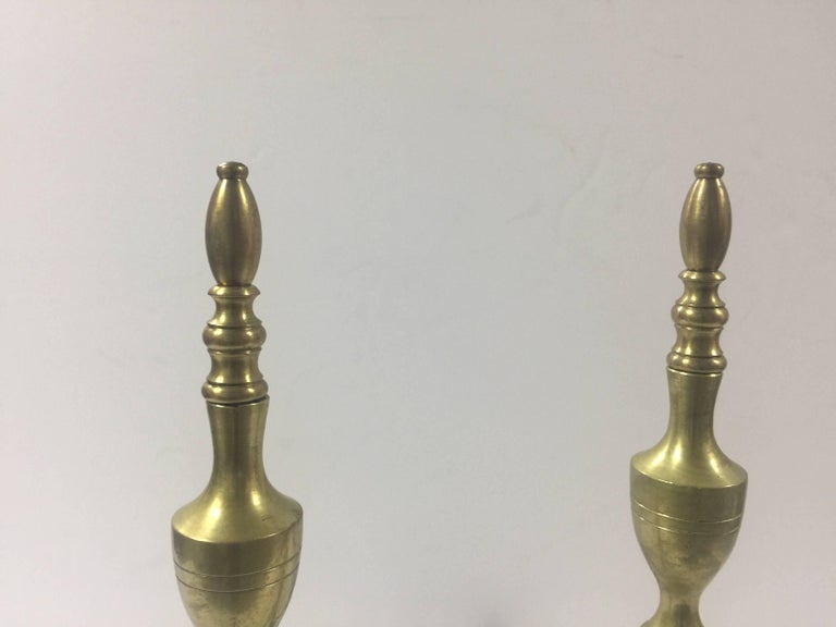 Vintage 1940s Traditional Polished Brass Andirons 5