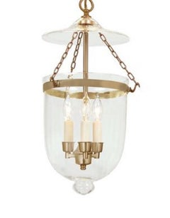 Set of 3 Bell Jar Pendant Lights with Brass Fittings