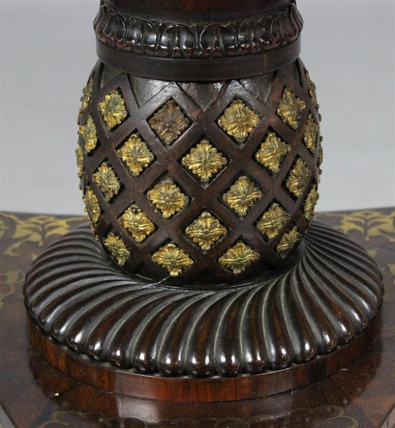 19th Century Fine and Rare Form Rosewood and Brass Regency Tilttop Table For Sale