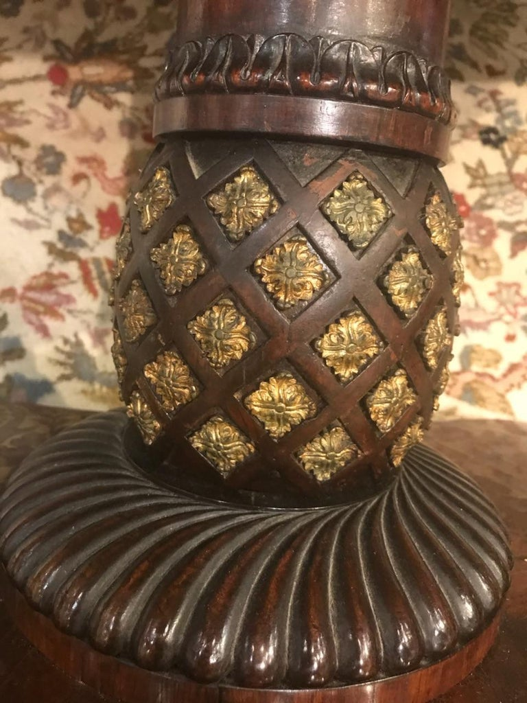 Fine and Rare Form Rosewood and Brass Regency Tilttop Table For Sale 1