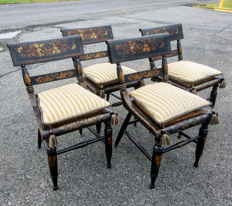 "Set of four Baltimore ""Fancy"" Painted and gilt side chairs in the neoclassical taste, circa 1820s.