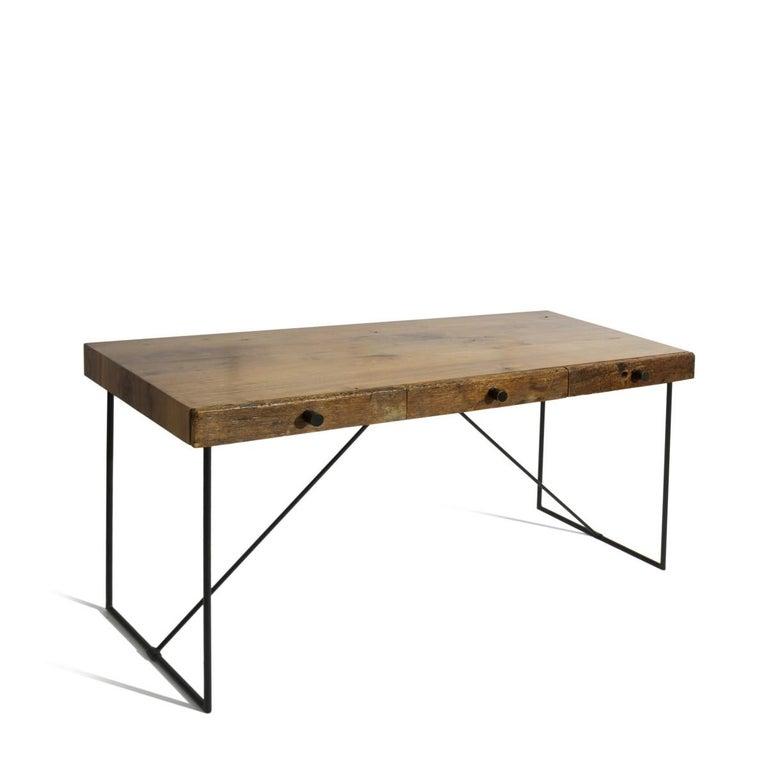 Modern Live Edge Wood Black Steel Three Drawer Writing Desk For