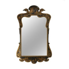 Vintage Chinese Black Lacquer and Gilt Mirror