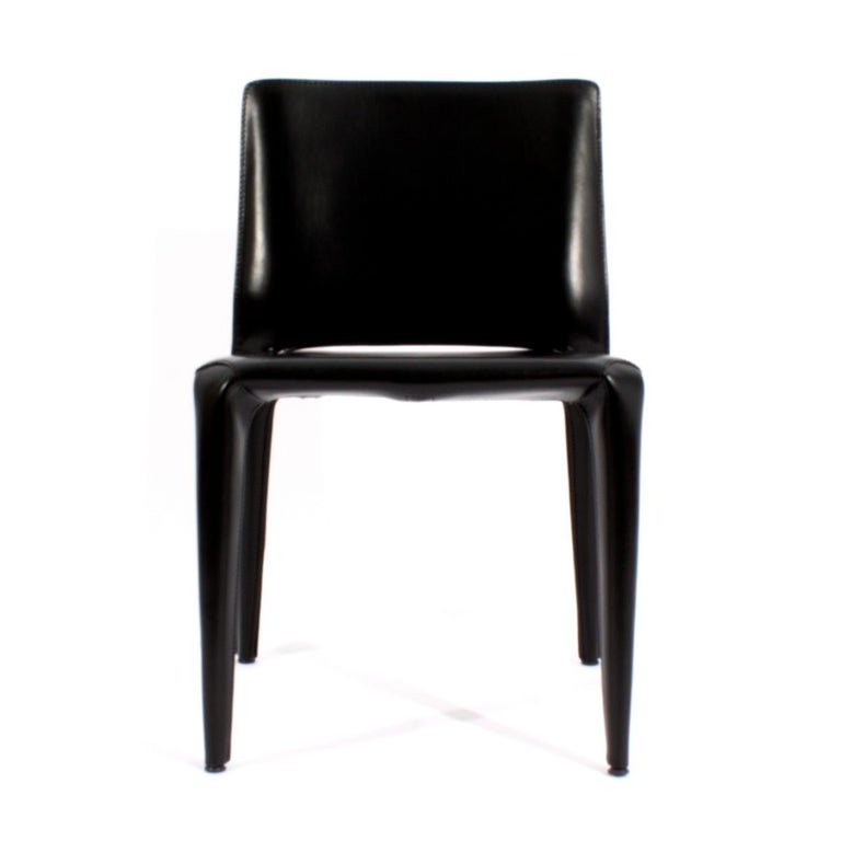 Set of six (6) model 422 bull chairs in black leather by Mario bellini for Cassina. Signed,  Italy, circa 1980.  Seat height: 18 inches.