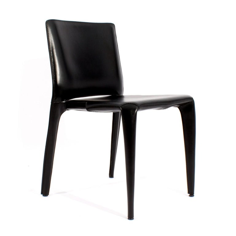 Italian Set of Six Cassina Mario Bellini Black Leather Dining Chairs For Sale