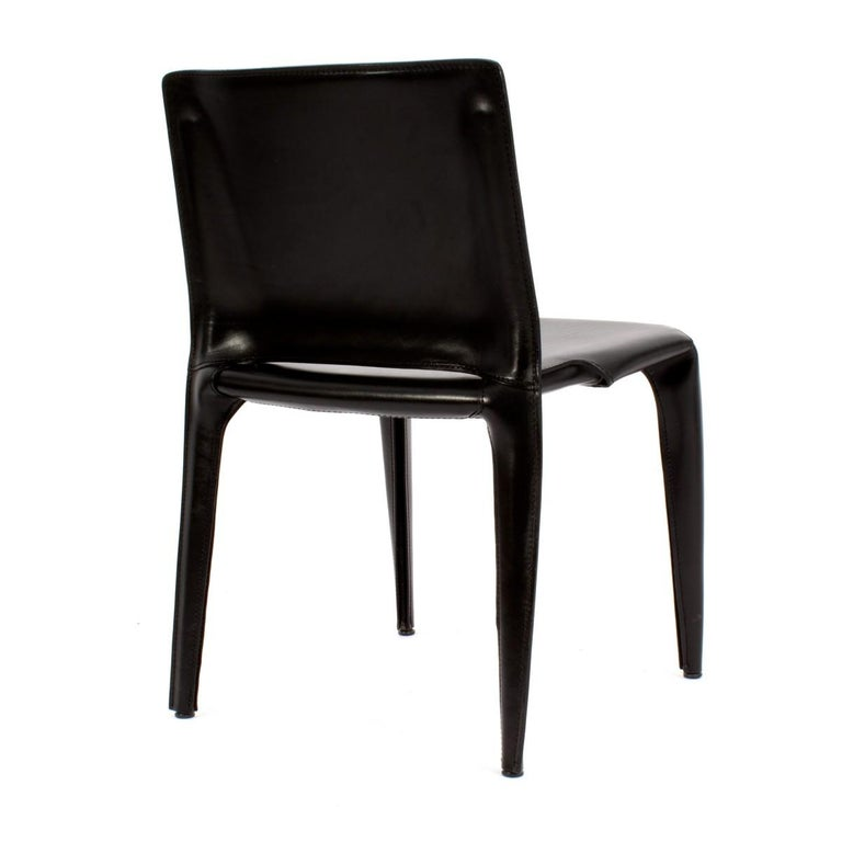 Set of Six Cassina Mario Bellini Black Leather Dining Chairs In Good Condition For Sale In New York, NY