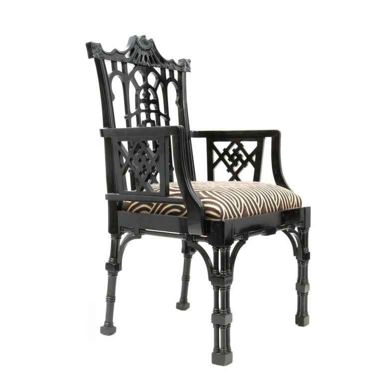 Other Pair of Chinese Chippendale Carved Fretwork Armchairs For Sale