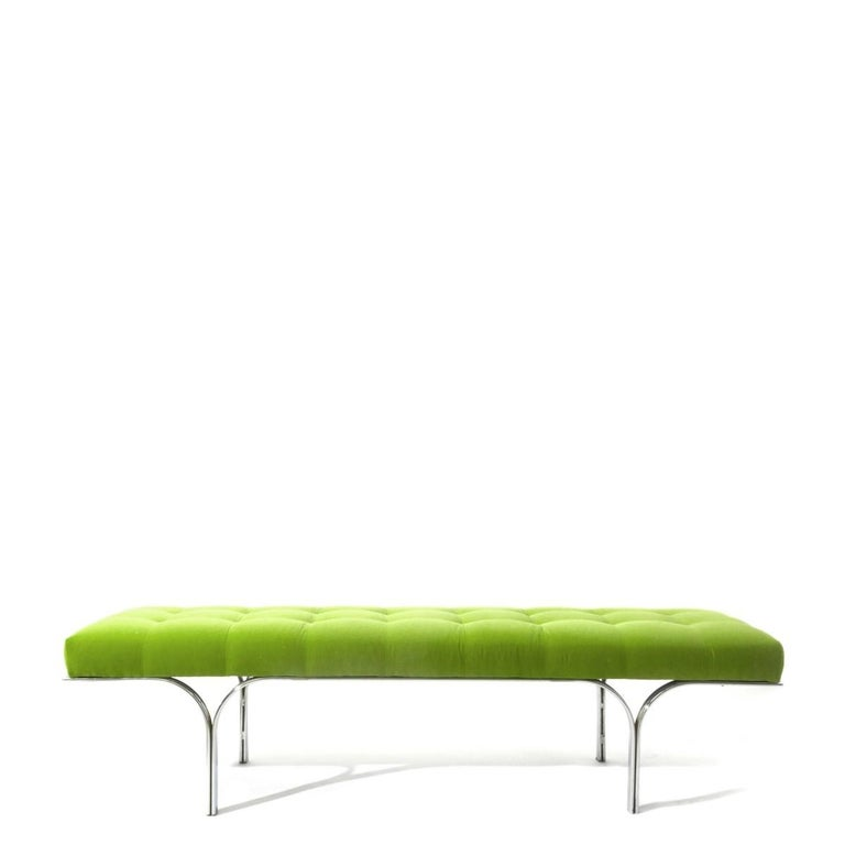 American Vintage Modern Bench in Green Velvet For Sale