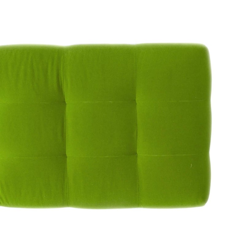 Mid-Century Modern Vintage Modern Bench in Green Velvet For Sale