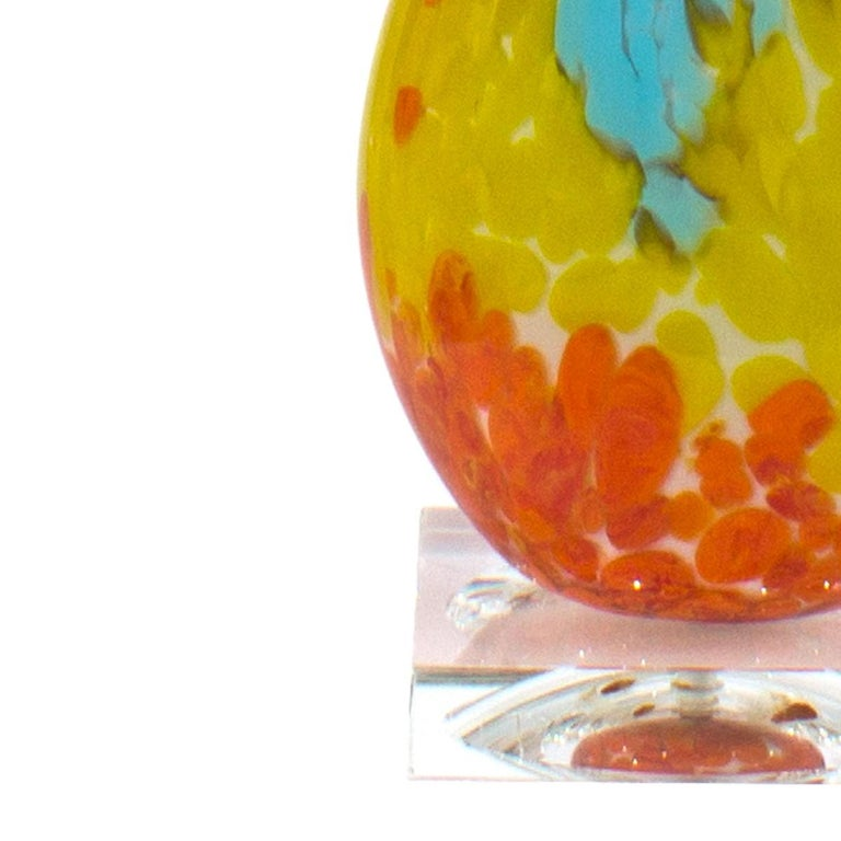Pair of Murano Multi-Color Table Lamps In Good Condition For Sale In New York, NY