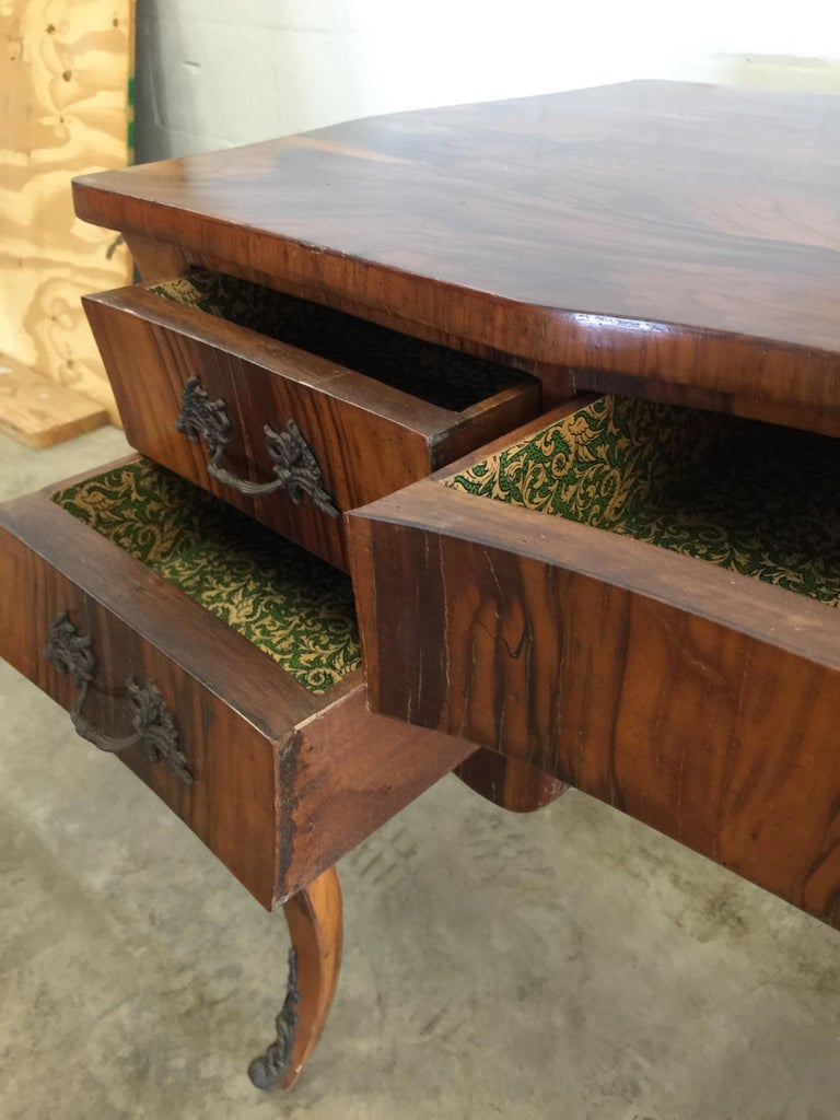 Vintage French Style Acacia Burl Desk For Sale 4