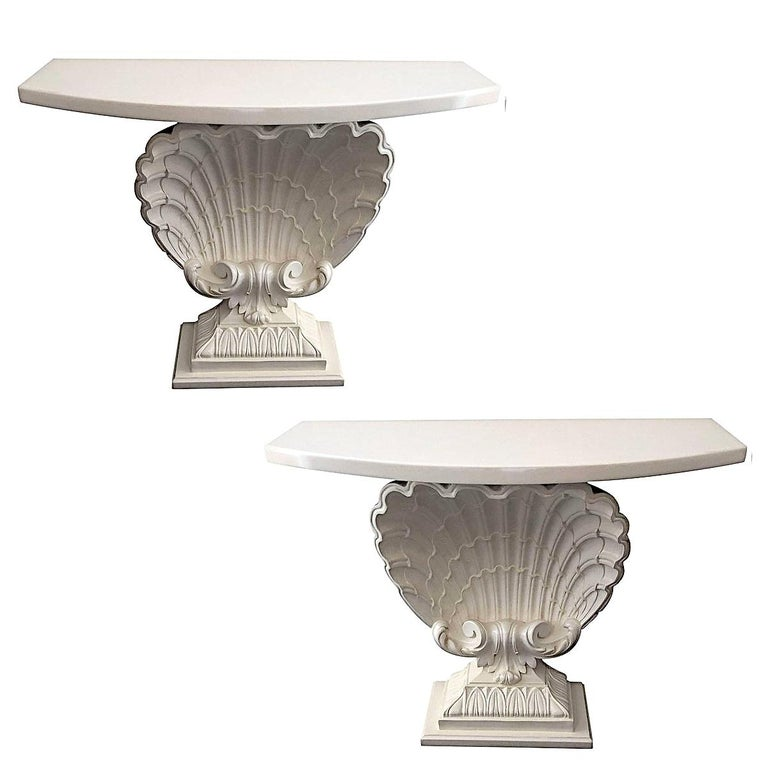 Pair of Hollywood Regency Shell Form Consoles For Sale
