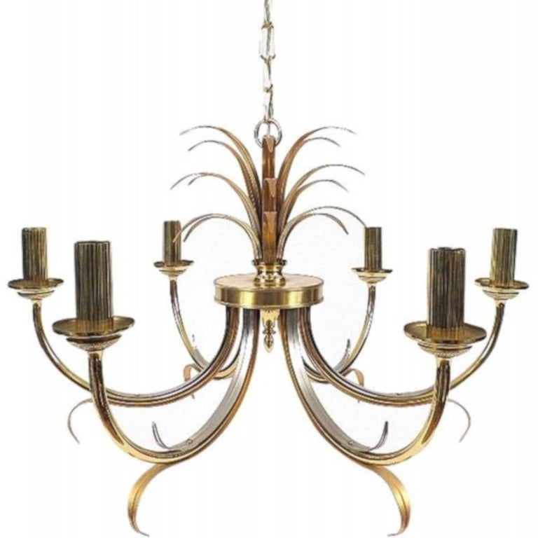 Vintage French Brass and Steel Chandelier  For Sale
