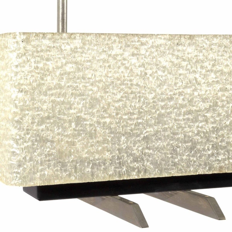 Mid-Century Modern Vintage French Perspex and Brushed Metal 4-Arm Light Fixture For Sale
