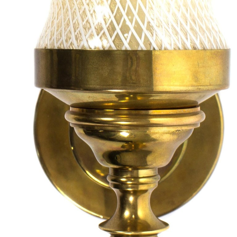 Pair of Vintage Patterned Glass and Brass Sconces In Excellent Condition For Sale In New York, NY