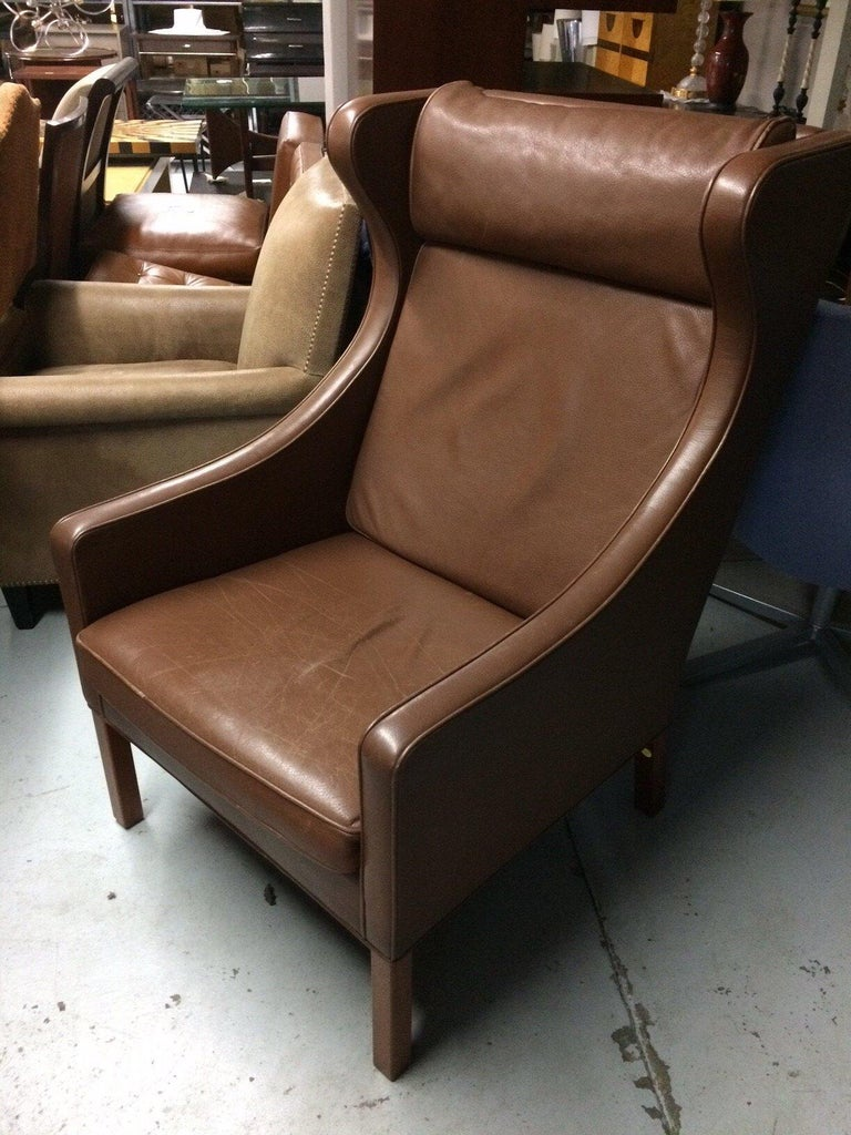 Mid-Century Modern Leather Lounge Chair and Ottoman by Borge Mogensen For Sale