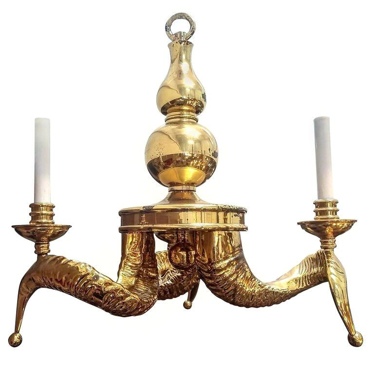 Hollywood Regency Vintage Solid Brass Ram Horn Chandelier For Sale