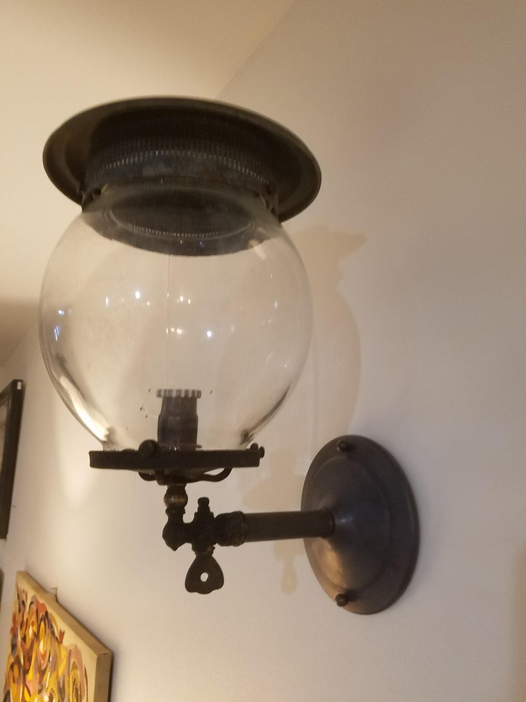 Arts and Crafts Pair of 19th Century Converted Wall Mount Gas Lamps For Sale