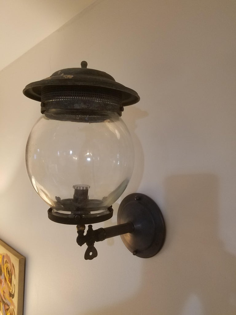 Late 19th Century Pair of 19th Century Converted Wall Mount Gas Lamps For Sale