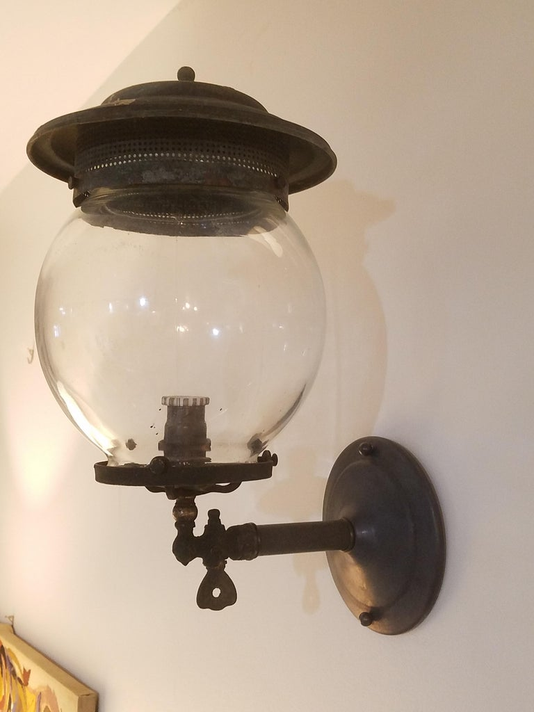 Pair of 19th Century Converted Wall Mount Gas Lamps In Excellent Condition For Sale In New York, NY