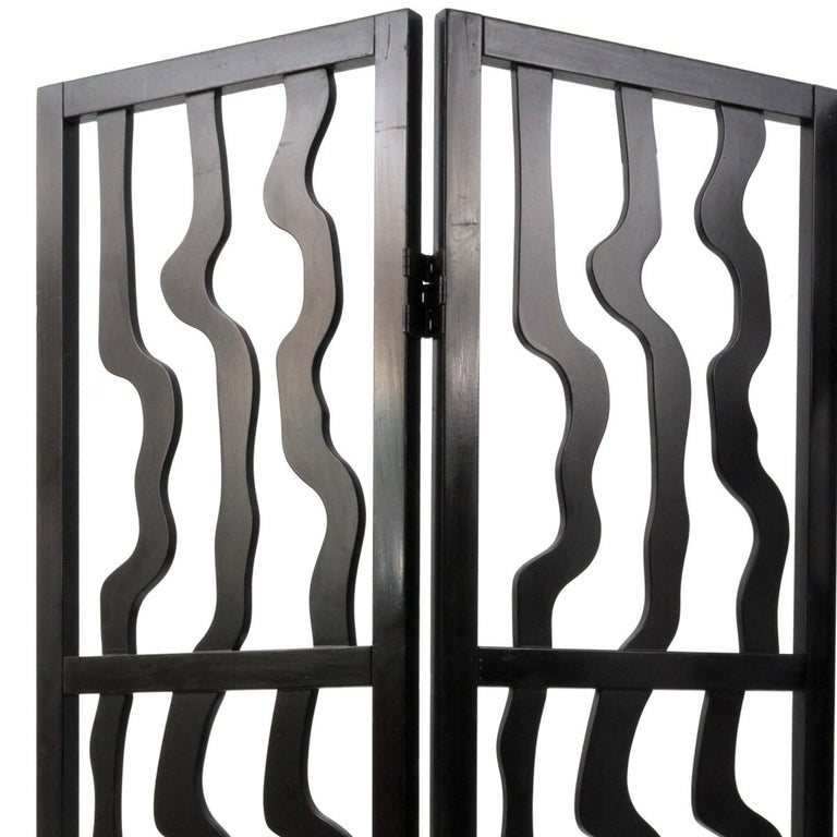 Modern Contemporary Sculptural Three Panel Folding Screen For Sale