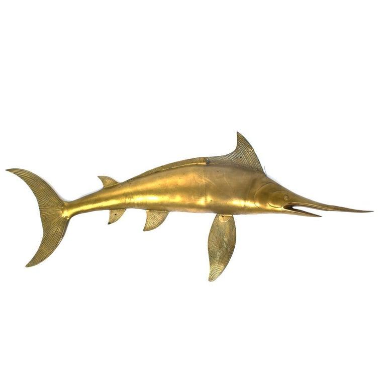 Vintage Lifesize Brass Swordfish Wall Sculpture
