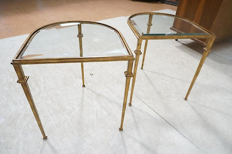 Very sexy and chic pair of gilded wrought iron side tables with beveled crystal tops.