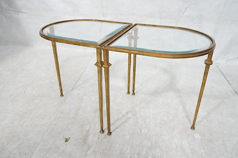 Mid-Century Modern Pair of Italian Gilded Iron Tables with Beveled Crystal Top For Sale