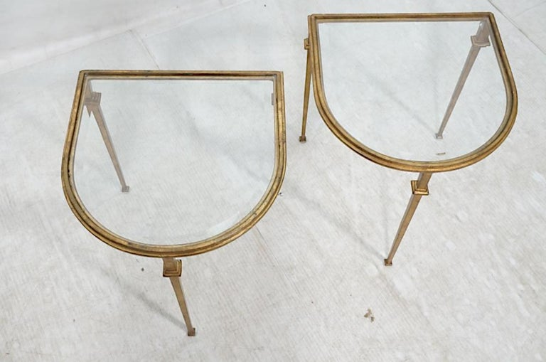 Pair of Italian Gilded Iron Tables with Beveled Crystal Top In Excellent Condition For Sale In New York, NY