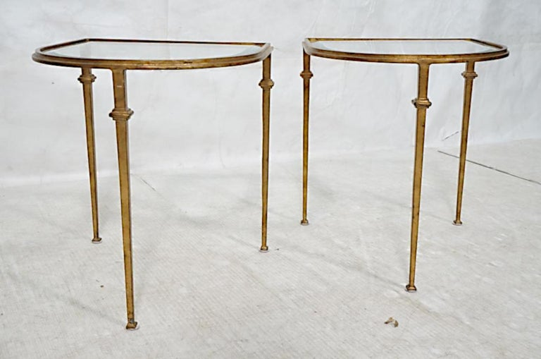 Mid-20th Century Pair of Italian Gilded Iron Tables with Beveled Crystal Top For Sale