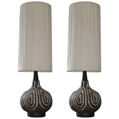Pair of Vintage Maurice Chalvignac Table Lamps with Original Shades