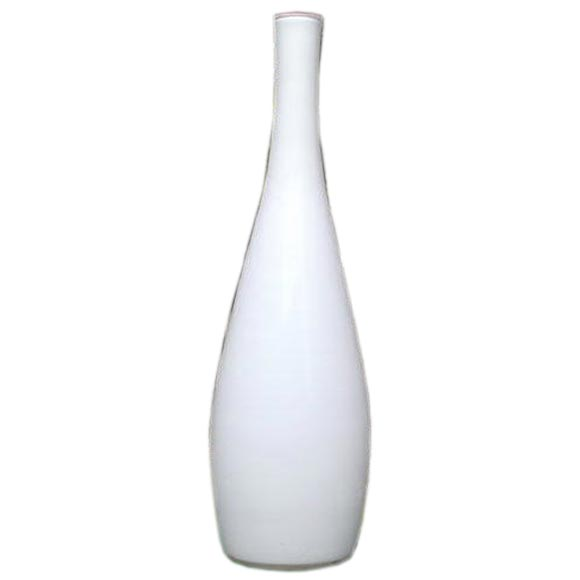 Vintage Tall White Cased Glass Vase by Kastrup