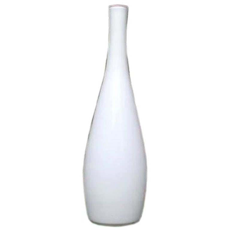 Vintage Tall White Cased Glass Vase by Kastrup For Sale