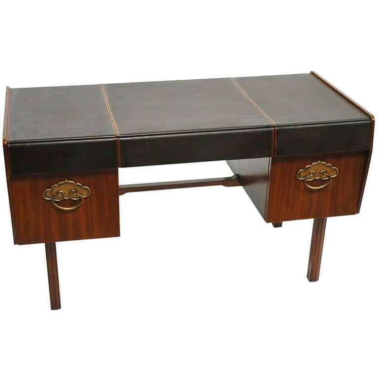 Leather Top, Walnut and Bronze Desk by Bert England for Widdicomb