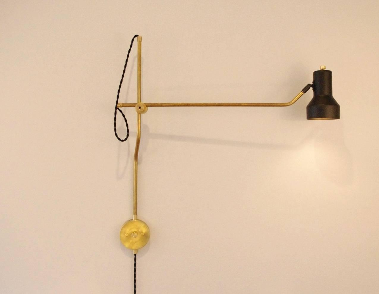 Wall Mounted Lamps With Swing Arms : Set of Six Industrial Brass Wall Mount Swing Arm Lamps For Sale at 1stdibs