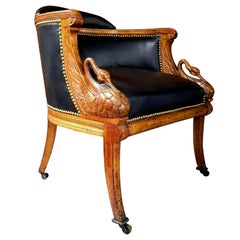 Spectacular American Swan Form Tub Chair in Tiger Maple
