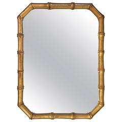 1960s Gold Faux Bamboo Wood Wall Mirror