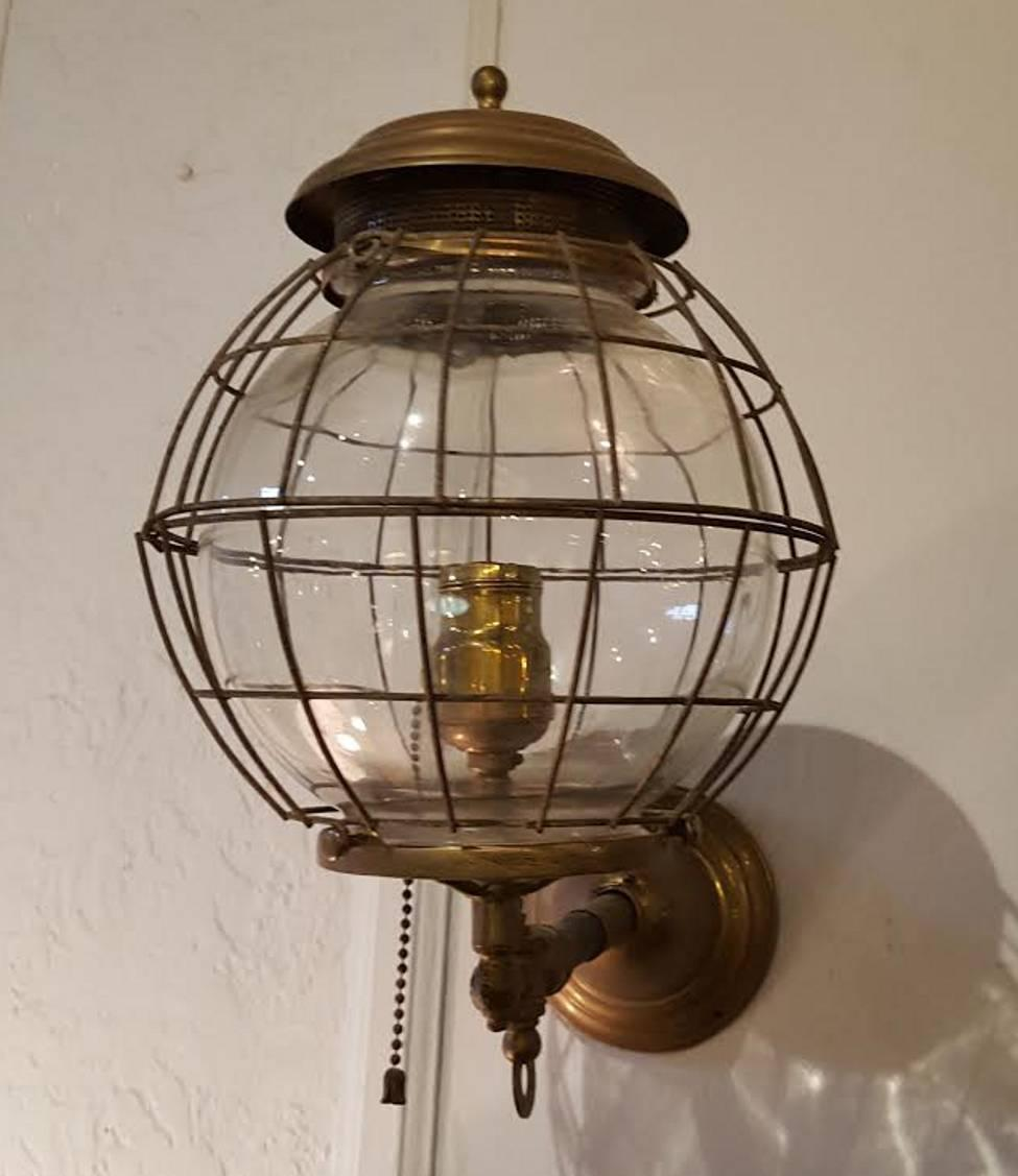 Gas Wall Mount Lanterns : Pair of 19th Century Converted Wall Mount Gas Lamps at 1stdibs