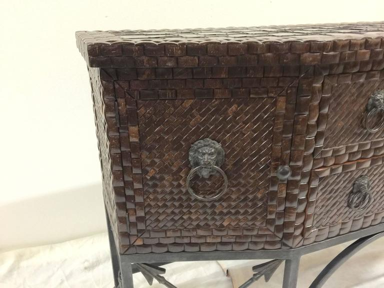 1970s Inlaid Coconut Shell And Hammered Copper Sideboard