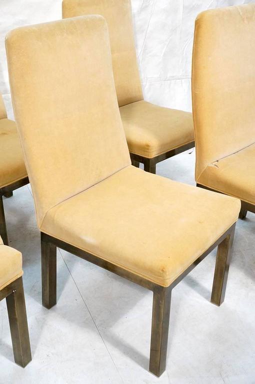 Set of 12 Minimalist Bronze Dining Chairs by Mastercraft 3
