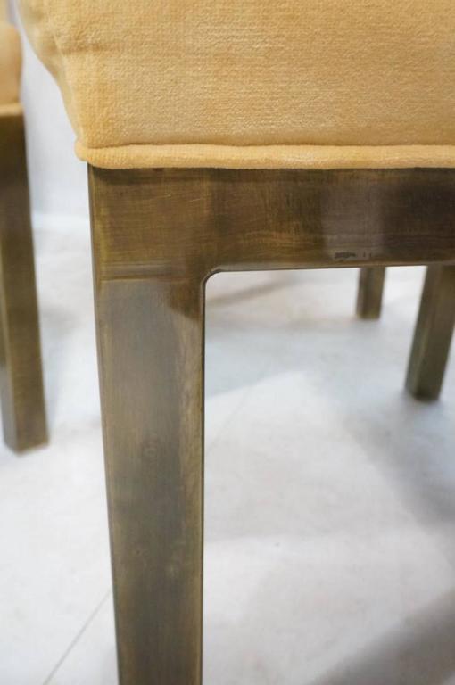 Set of 12 Minimalist Bronze Dining Chairs by Mastercraft 4