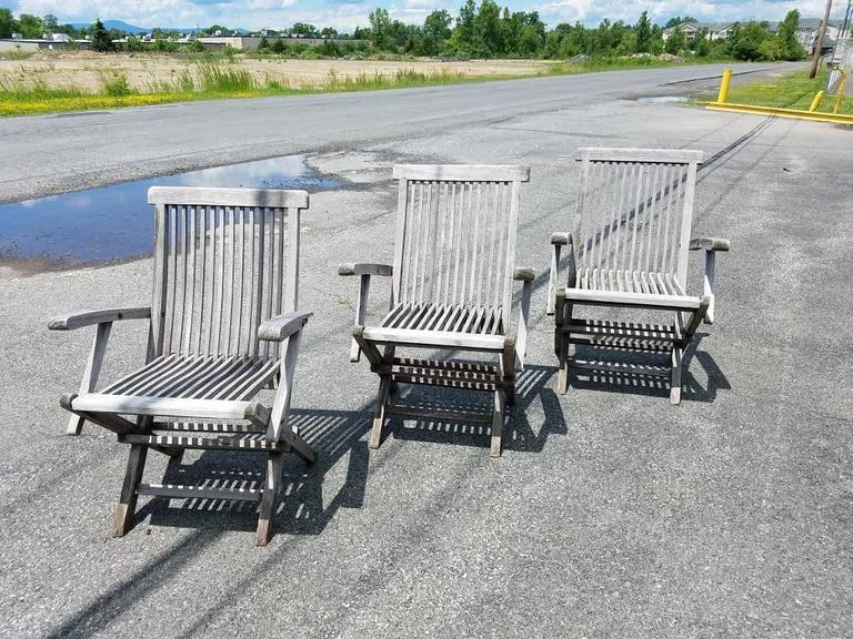 American Set of Three Vintage Teak Folding Chairs by Andrew For Sale