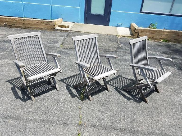 Set of Three Vintage Teak Folding Chairs by Andrew In Good Condition For Sale In New York, NY
